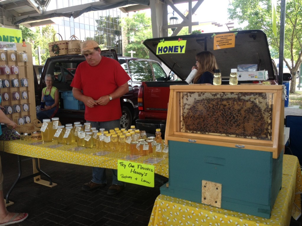 The honey stand - they even brought their bees!