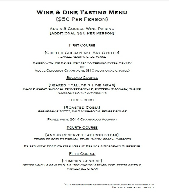 Wine & Dine on Wednesday evenings at Bistro 82.